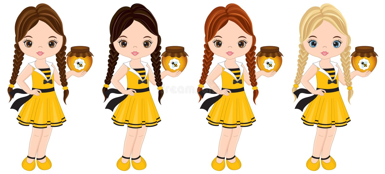 Vector Cute Little Girls with Various Hair Colors Dressed in Bee Style. Vector cute little girls with various hair colors. Little girls dressed in bee style stock illustration