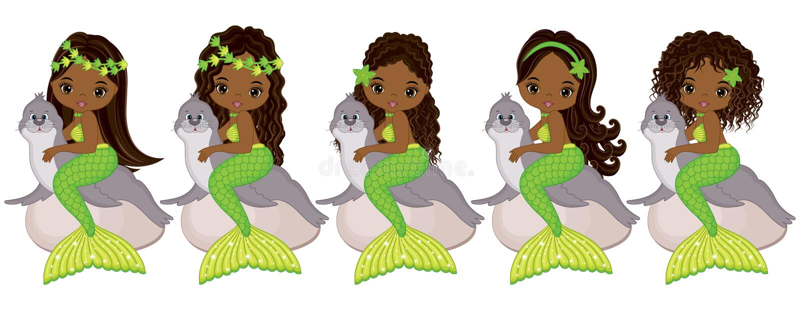 Vector Cute Little Mermaids with Fur Seals. Vector African American Mermaids stock illustration