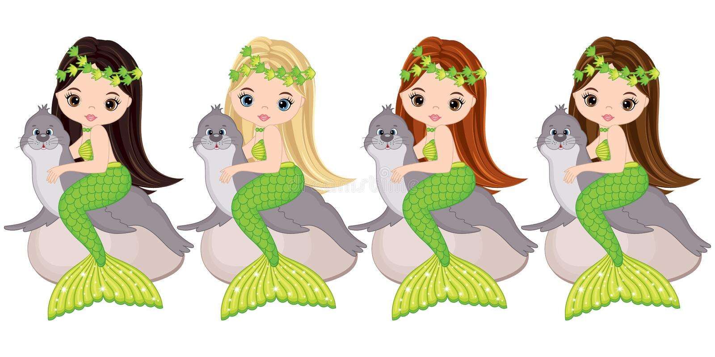 Vector Cute Little Mermaids with Fur Seals. Vector Mermaids stock illustration