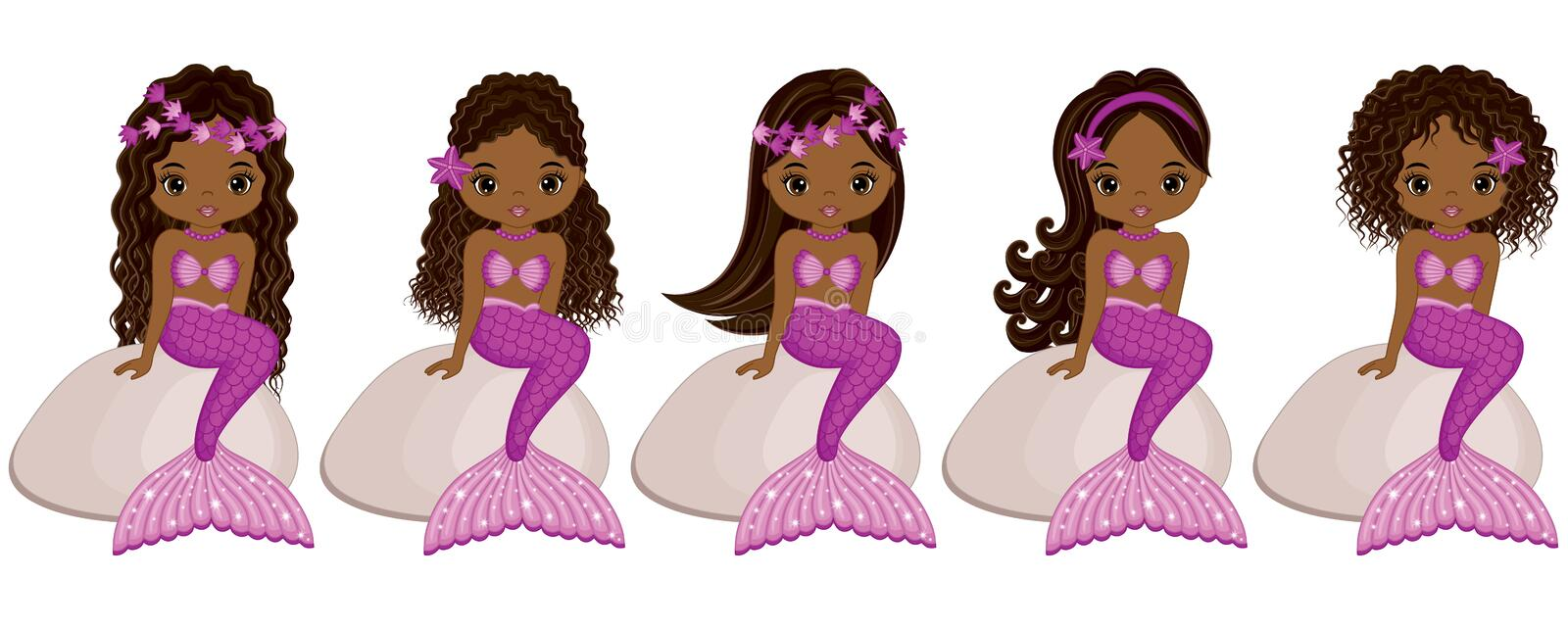 Vector Cute Little Mermaids Sitting on Stones. Vector African American Mermaids vector illustration