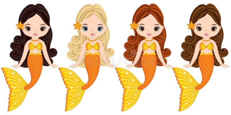 Vector Cute Little Mermaids Swimming. Vector Mermaids royalty free illustration
