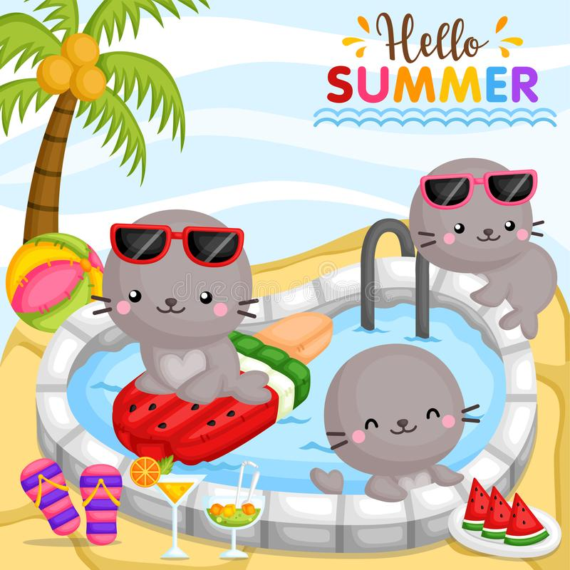 A Vector of Cute Seal Playing around at Pool and Surrounded by Food and Drinks stock illustration
