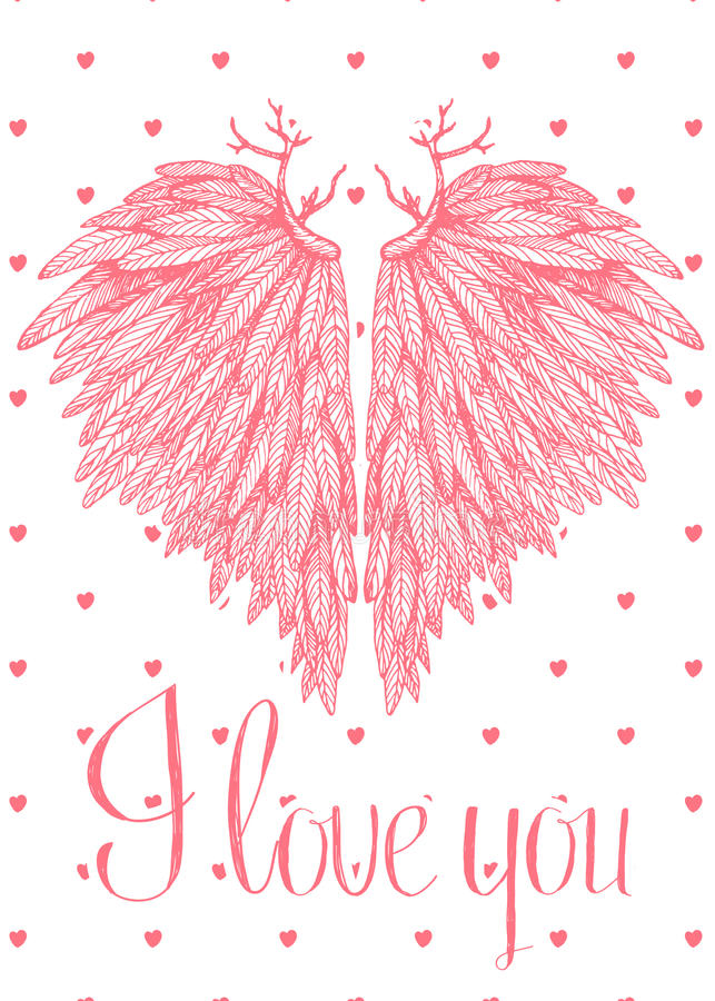 Vector cute lovely card with heart shaped angel wings vector illustration