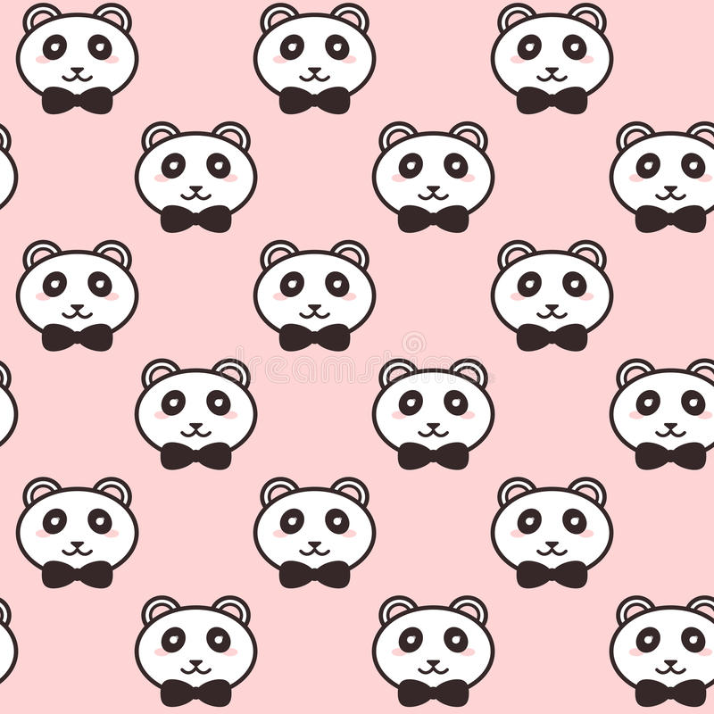 Vector cute pandas with black bows pattern vector illustration
