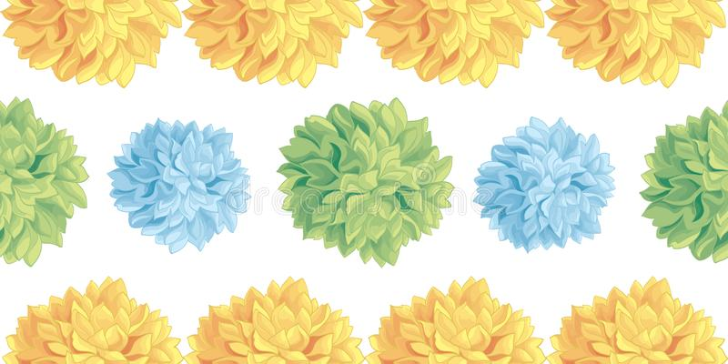 Vector Cute Pastel Yellow, Blue, Green Birthday Party Paper Pom Poms Set Horizontal Seamless Repeat Border Pattern stock illustration
