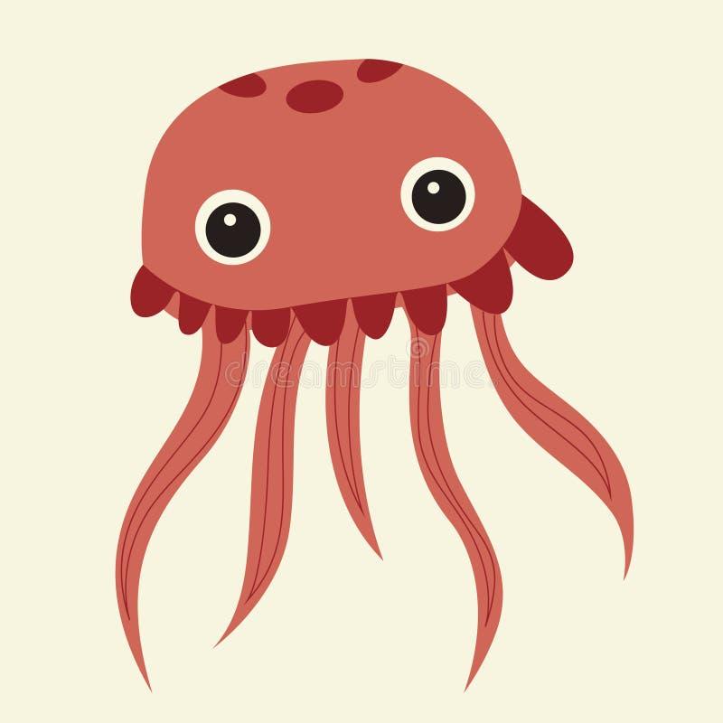 Vector cute pink jellyfish stock illustration