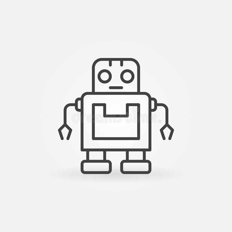 Vector cute robot icon or symbol in line style royalty free illustration