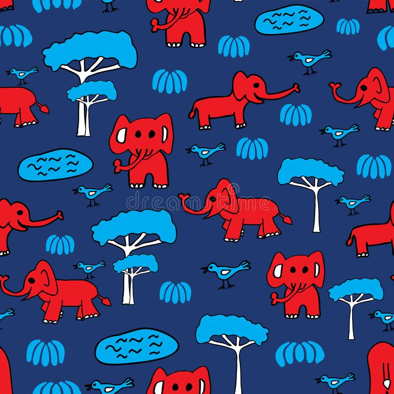 Vector cute seamless hand drawn pattern with red elephants, blue birds, lakes and trees. Perfect for baby fashion or. Paper. Boys and girls royalty free illustration