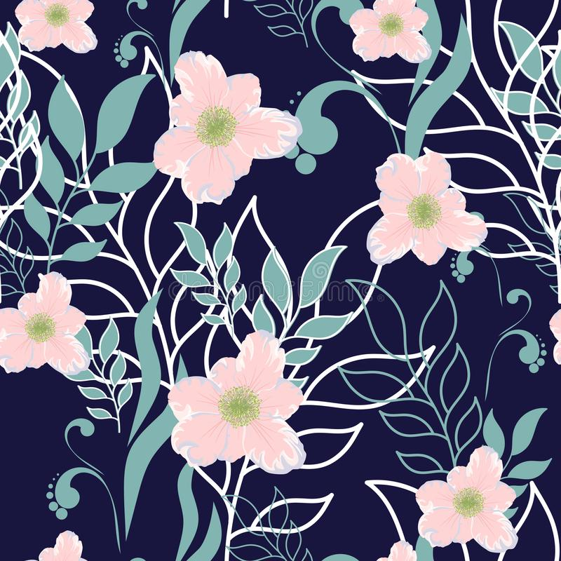 Vector cute seamless leaves and flowers spring pattern. Big set of mint floral elements and pink flowers. vector illustration