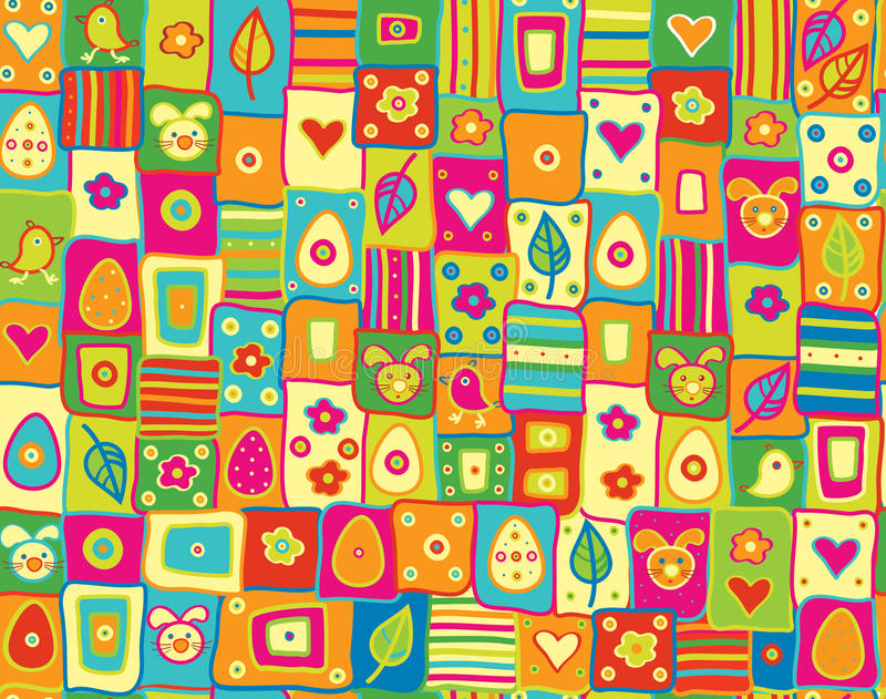 Vector Cute Seamless Pattern, Happy Easter. Stock Vector