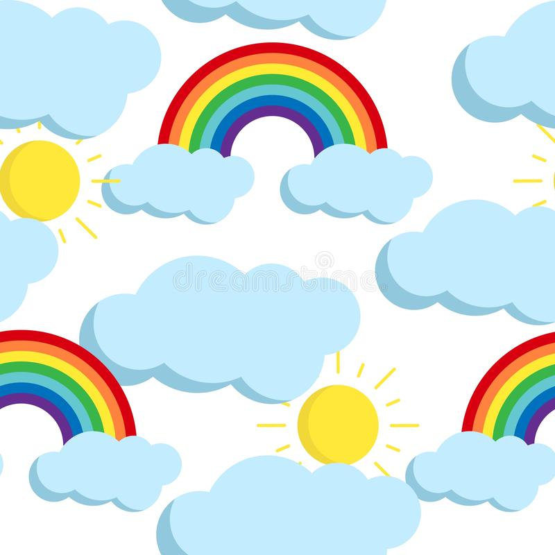 Cute vector seamless pattern with rainbows and clouds icons. Vector cute seamless pattern with rainbows, clouds and sun on white background. Funny endless stock illustration