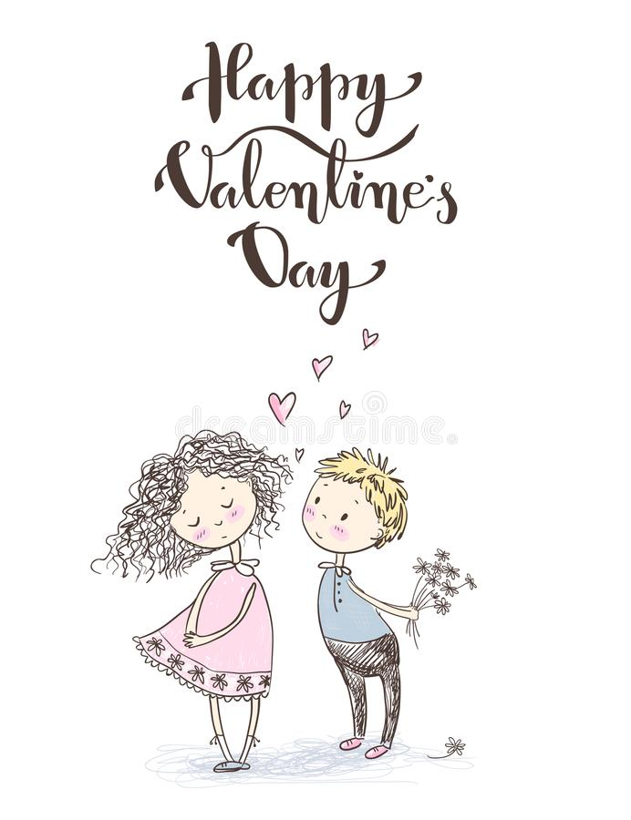 Vector cute sketchy style younge couple. Valentine`s card. Happy vector illustration