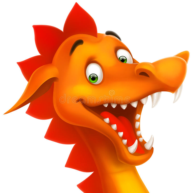 Vector cute smiling happy dragon as cartoon or toy stock illustration