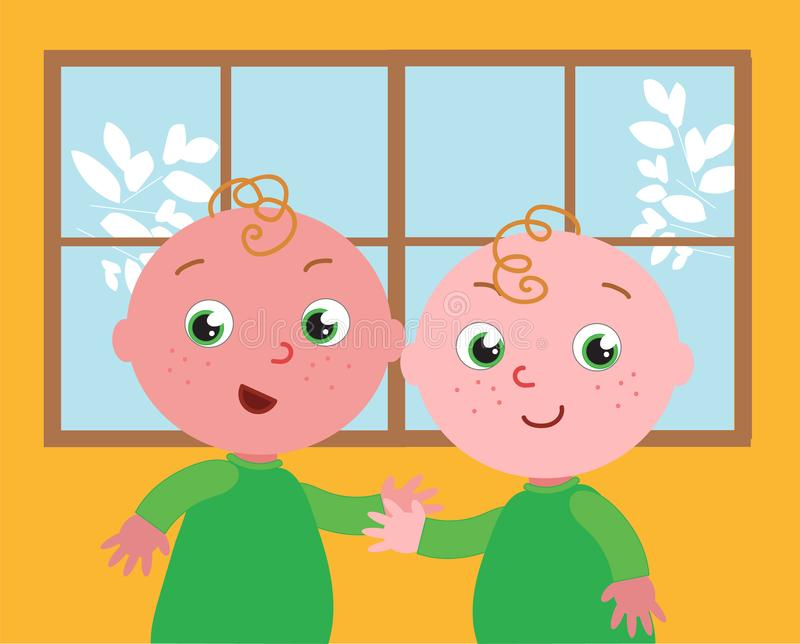 Vector cute twins stock photo