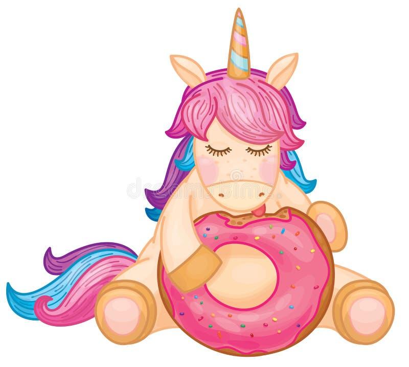 Vector cute unicorn cartoon eating donut. stock illustration