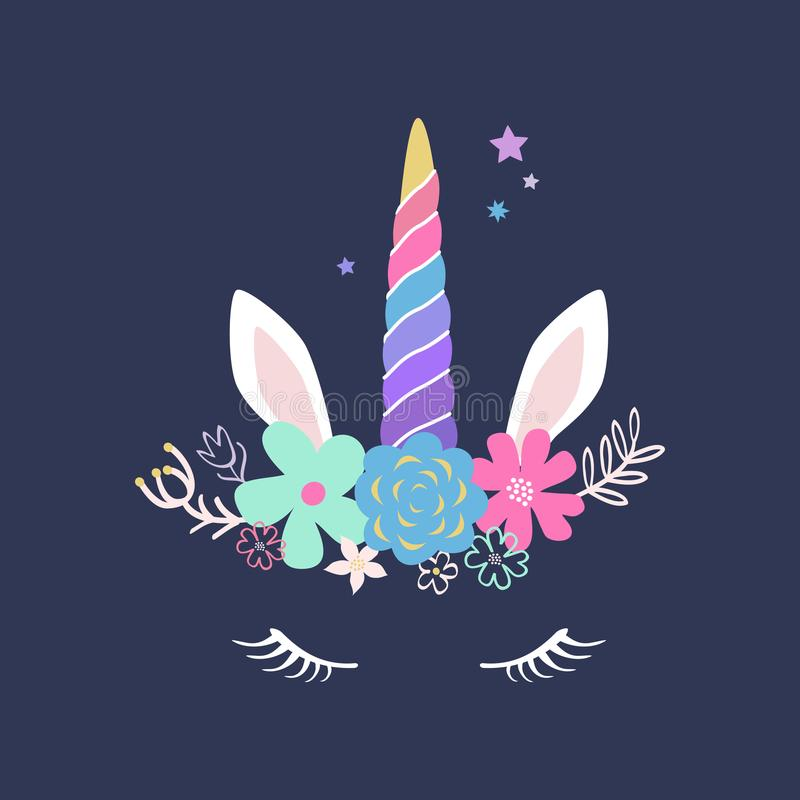 Vector cute Unicorn illustration. Modern magical greeting card, vector illustration