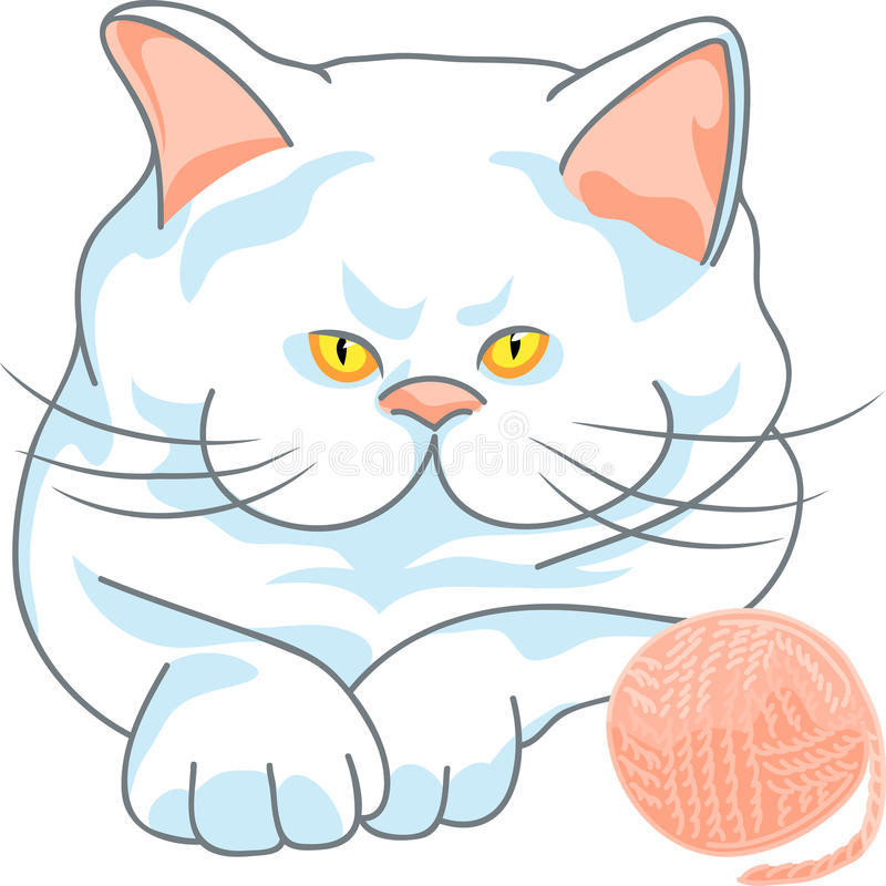 Vector cute white cat with ball of yarn stock photos