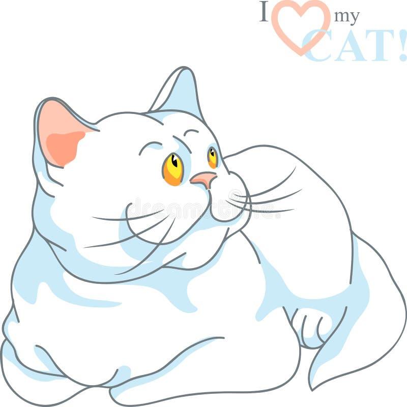 Vector cute white cat lying stock photos