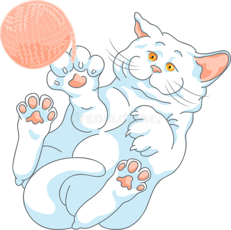 Vector cute white cat playing with a ball of yarn royalty free stock photography
