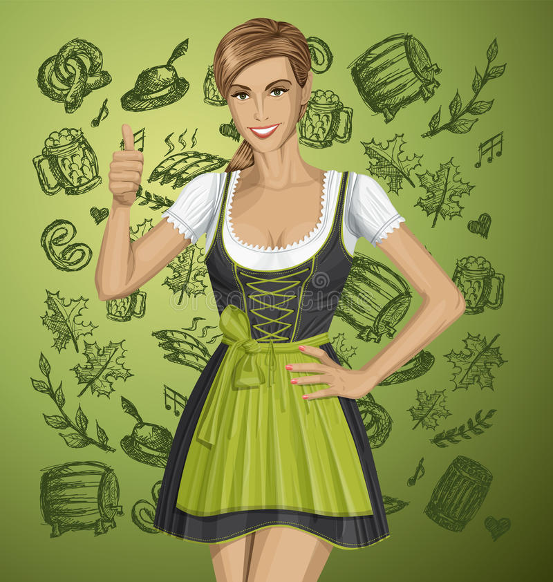 Vector Cute Woman In Drindl On Oktoberfest. Shows well done stock illustration