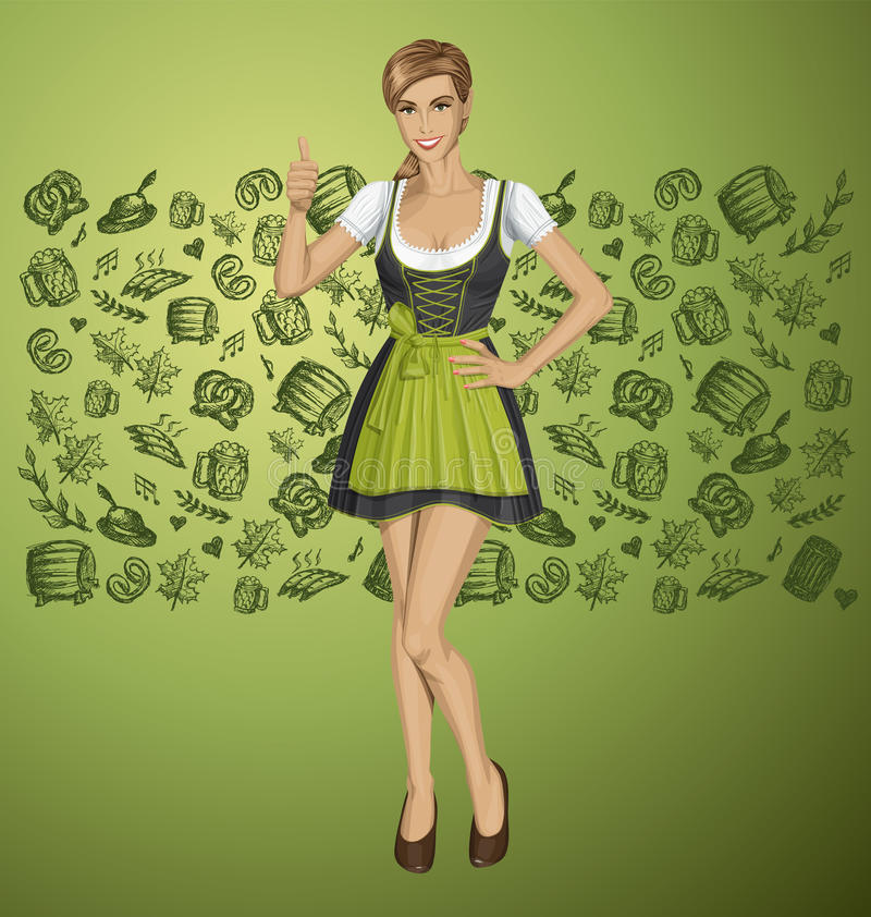 Vector Cute Woman In Drindl On Oktoberfest. Shows well done royalty free illustration