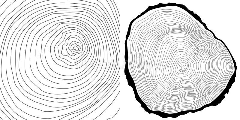 Vector cutted предпосылка колец дерева и журнал дерева иллюстрация штока