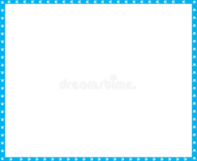 Vector cyan blue and white rectangle frame of cat paw prints copy space. Vector cyan blue and white rectangle border made of animal paw prints isolated on white vector illustration