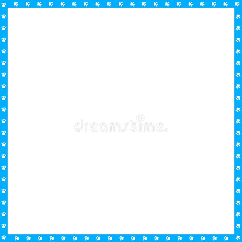 Vector cyan blue and white square frame made of animal paw prints copy space. Vector cyan blue and white square border made of animal paw prints isolated on vector illustration