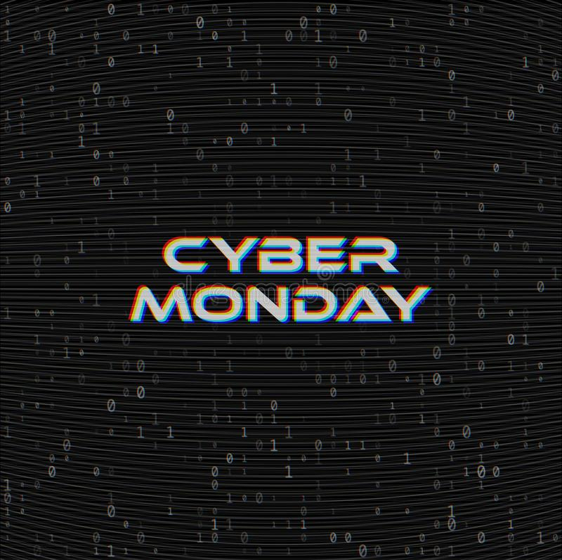 Vector Cyber monday Sale web banner on binary code dark background. Online web shopping data concept. Computer numbers 1,0. Analog vector illustration