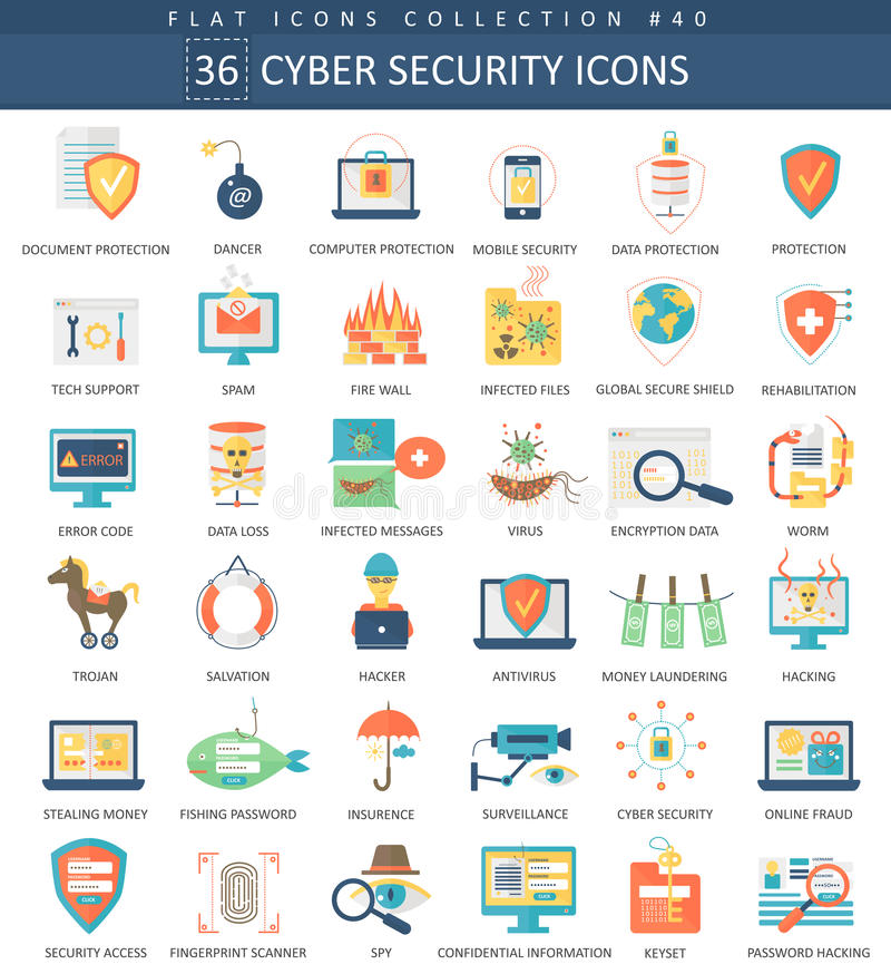 Vector Cyber security flat icon set. Elegant style design. stock illustration