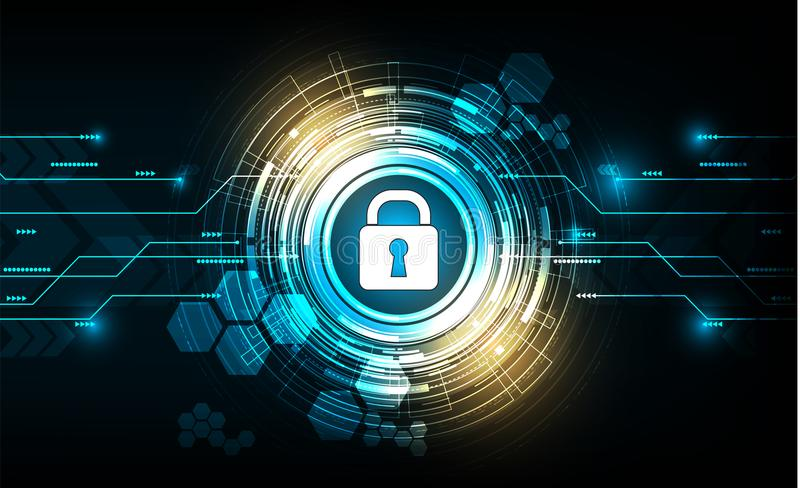Vector cyber security with lock and password on technology background. stock illustration