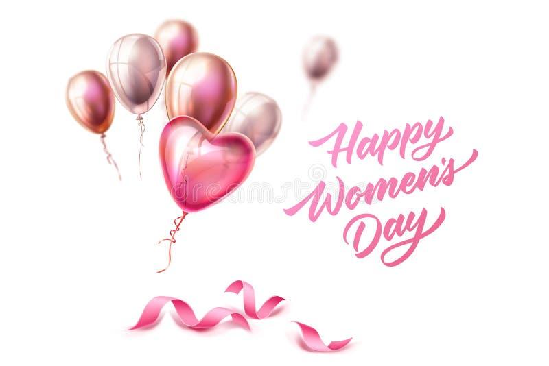 Vector día letras cinta para mujer feliz del 8 de marzo ilustración del vector