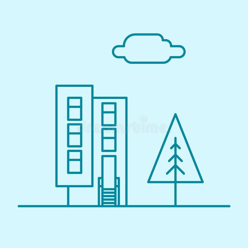 Vector dünne Linie Bürogebäude der Stadt mit Baum und Wolke Immobilienwohnungskonzept-Ikonendesign des Stadtgeschäfts lizenzfreie abbildung