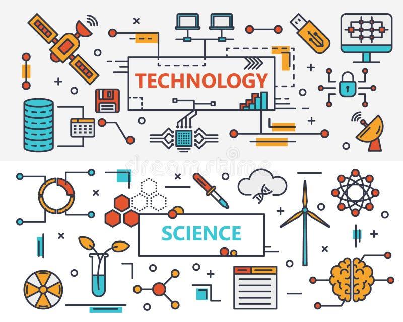 Vector dünne Linie Fahnen des flachen Entwurfstechnologie und Wissenschaftskonzeptes lizenzfreie abbildung