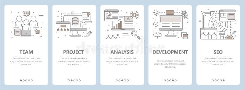 Vector dünne Linie flaches Design, Web-Entwicklung, seo Konzeptfahnen stock abbildung
