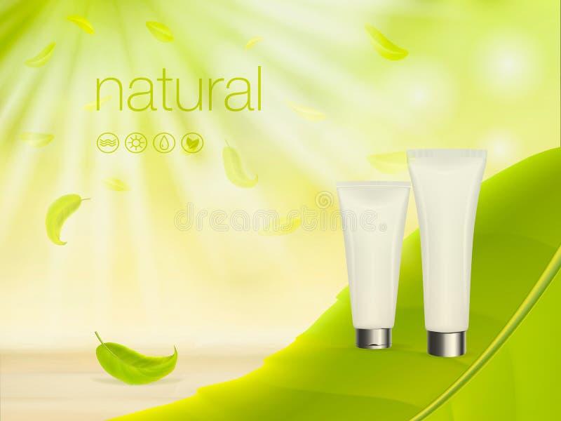 Vector 3D иллюстрация с зелеными косметическими объявлениями продукта, шаблон состава бесплатная иллюстрация
