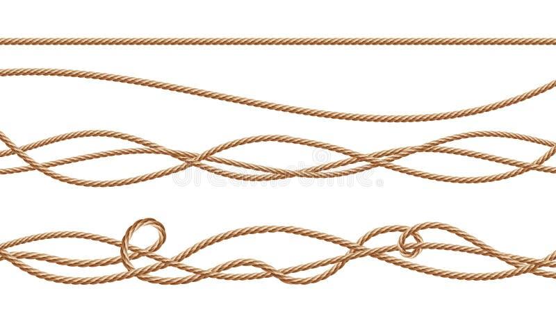 Vector 3d реалистический джут, пенька, веревочки волокна иллюстрация штока