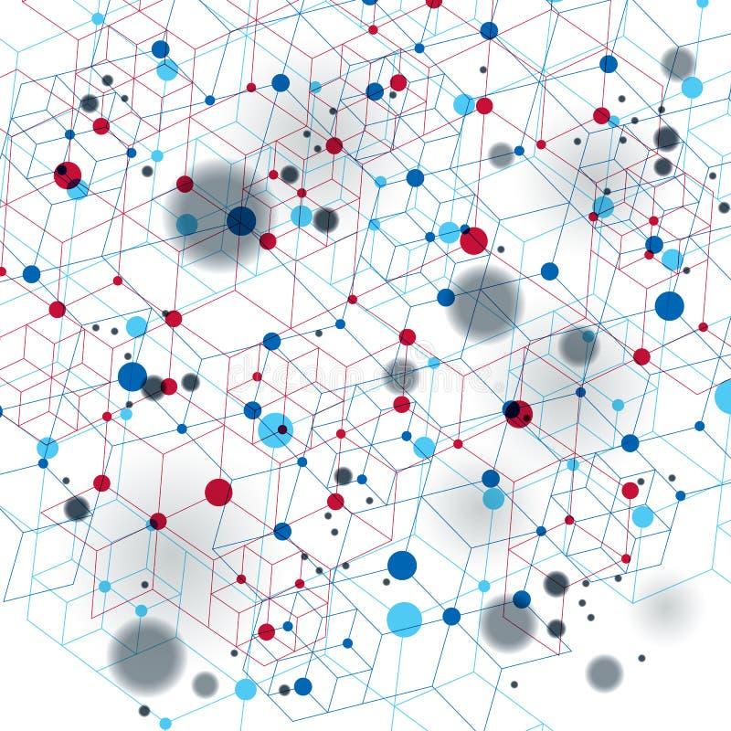 Vector 3d a abstração digital, ilustração poligonal geométrica da malha da perspectiva ilustração stock