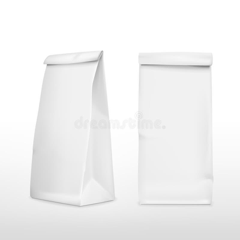 Vector 3d blank paper bag. Template on white background stock illustration
