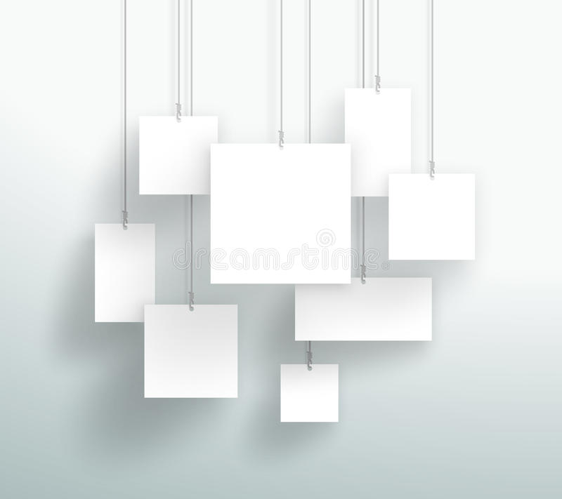 Vector 3d Blank White Square Boxes Hanging Design stock illustration