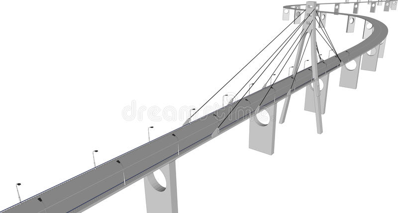 Vector 3D bridge City buildings view stock illustration
