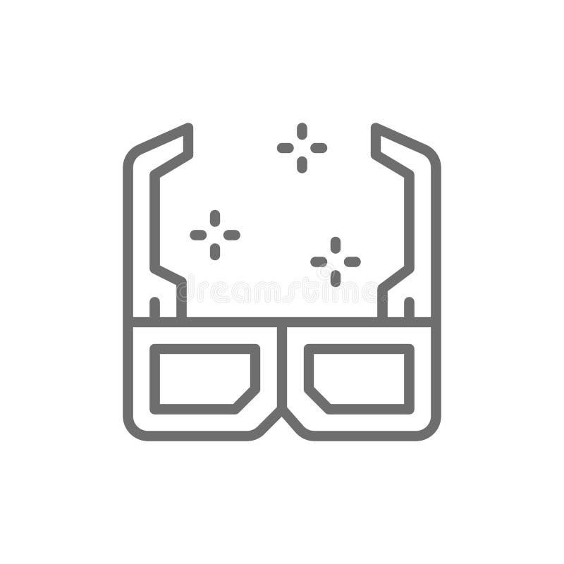 3D cinema glasses line icon. vector illustration