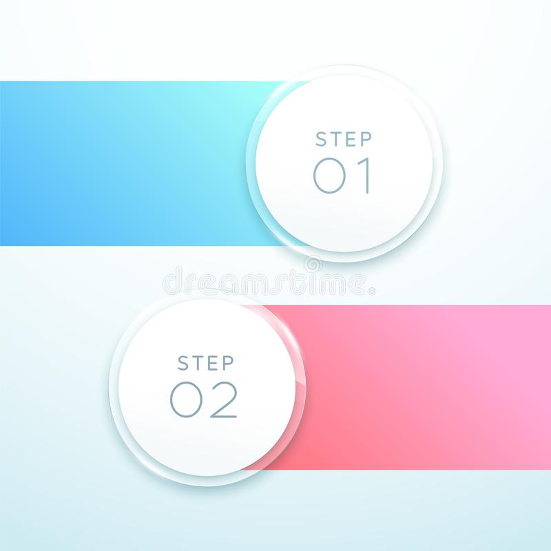 Vector 3d Circle Banner 2 Point Infographic List Design. Vector, 2 point plan infographic made of colorful gradient strips and white 3d number circles with blank vector illustration