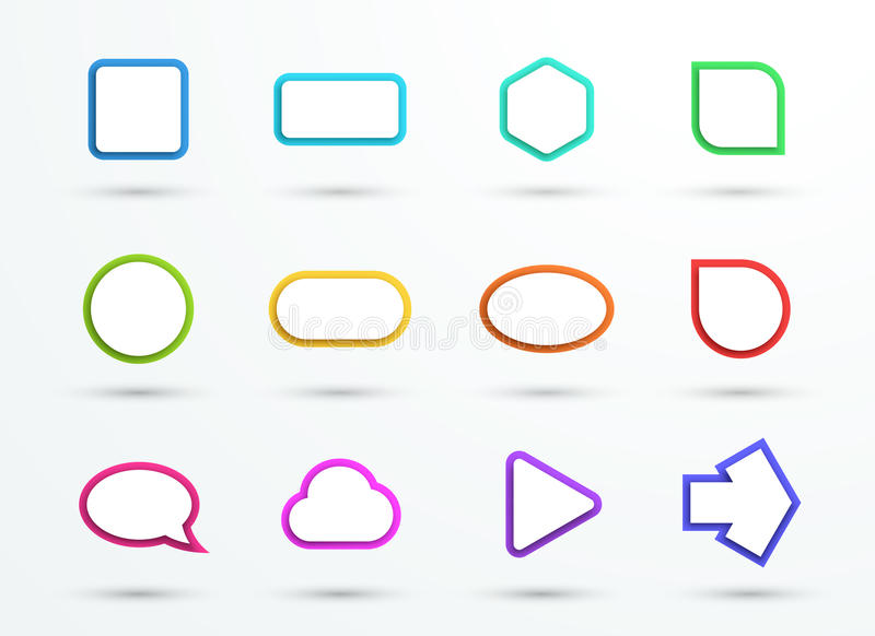 Vector 3d Color Text Box Frames Different Shapes Set of 12 stock illustration