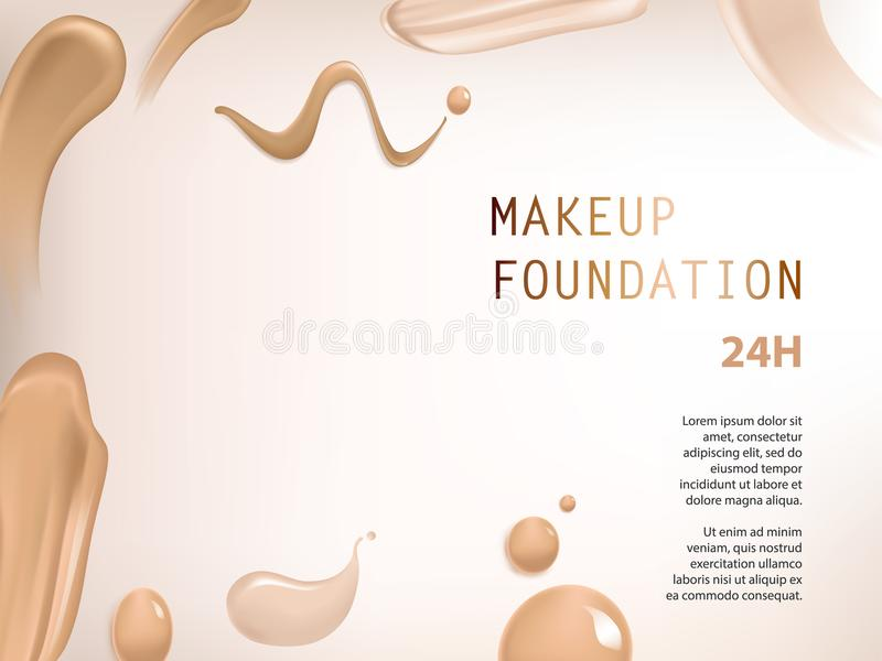 Poster with texture of smears of liquid foundation. Vector 3D cosmetic background for the promotion of colorstay foundation concealer Realistic poster with royalty free illustration