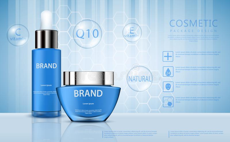 Vector 3D cosmetic illustration for the promotion of foundation premium product. Realistic blue packing container, jars for cream and a tube with a pipette for stock illustration