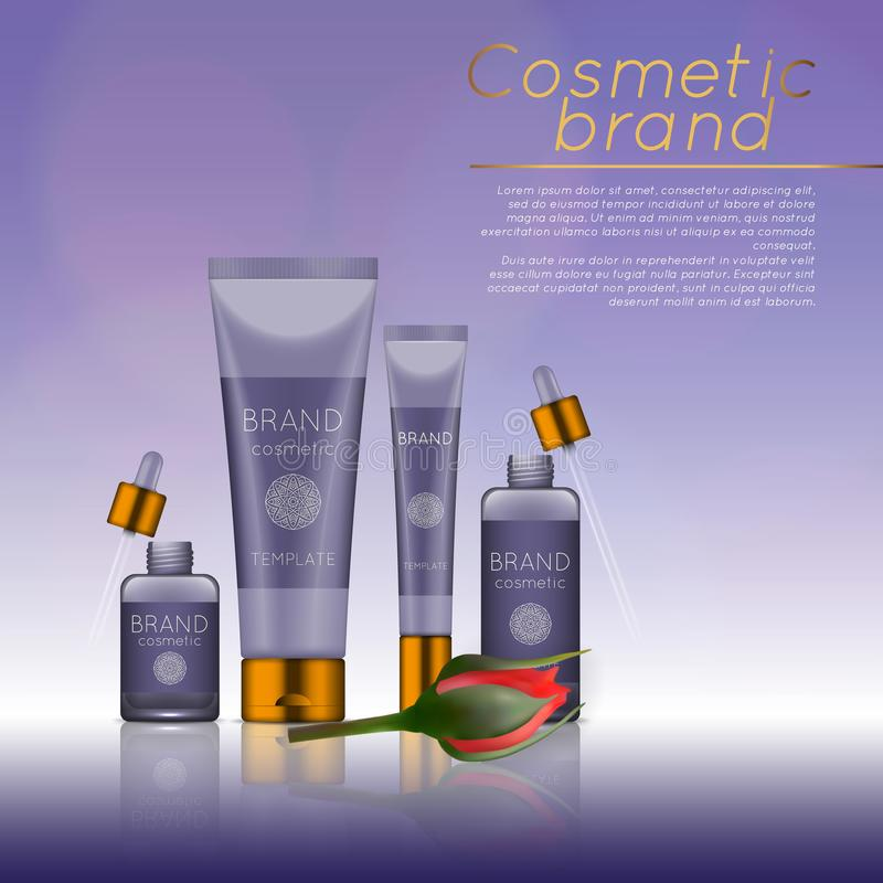 Vector 3D cosmetic illustration with rose and bokeh background. Beauty realistic cosmetic product design template. Vector 3D cosmetic illustration with rose and royalty free illustration