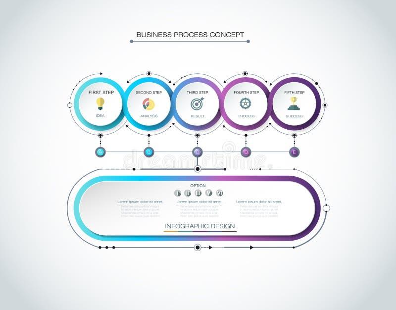 Vector 3d de cirkeletiket van Infographic, malplaatjeontwerp Bedrijfsconcept, Infograph met 6 aantallenopties, royalty-vrije illustratie