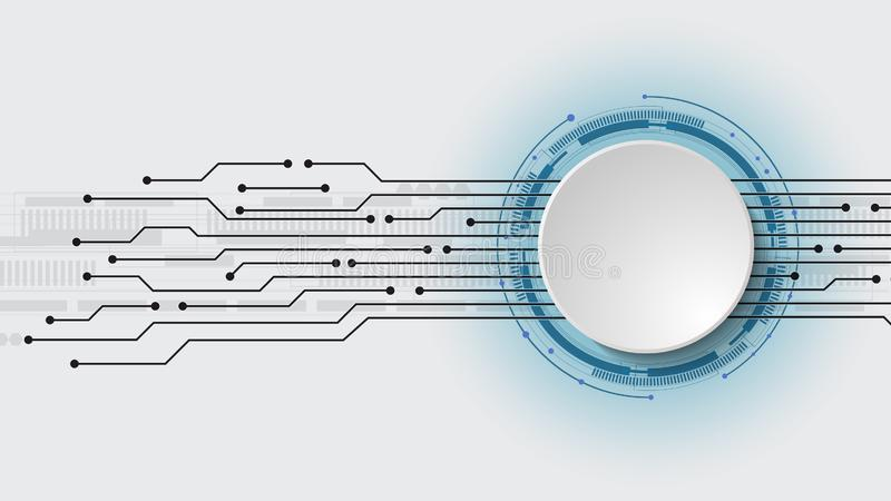 Vector 3d design of paper circle with electrical circuit. High-tech digital network, communications, high technology. Abstract, futuristic, engineering royalty free illustration