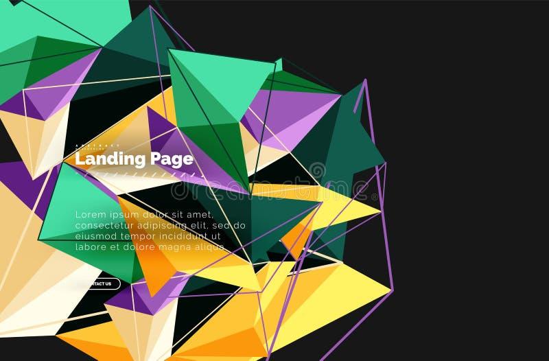 Vector 3d driehoeks abstracte achtergrond, veelhoekig geometrisch ontwerp royalty-vrije illustratie